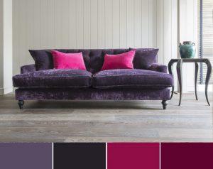 Decor interior violet visiniu